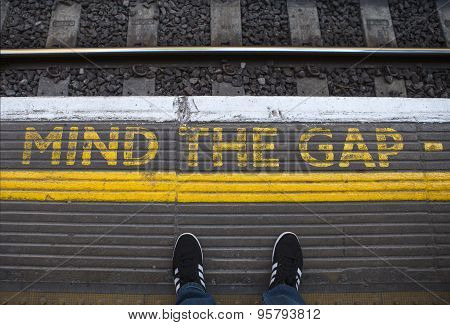 Mind The Gap On A London Underground Platform