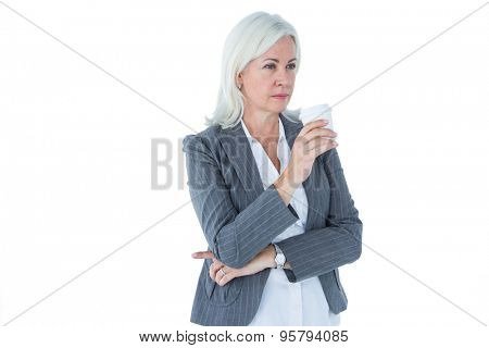 businesswoman holding a coffee on white background