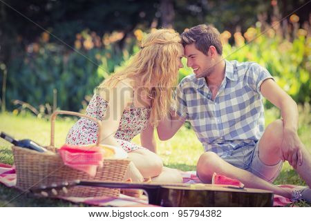 Young couple on a picnic looking at each other on a sunny day