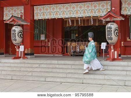Priest Of Kanda Shinto Shrine In Tokyo, Japan