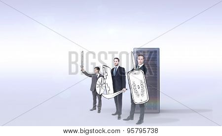 Corporate army against grey background