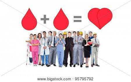Smiling group of people with different jobs against blood donation