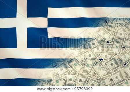 Pile of dollars against digitally generated greek national flag