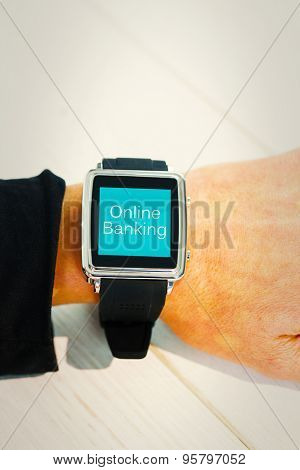 Businesswoman using a smart watch against online banking
