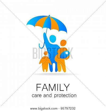 Traditional family under umbrella, safety