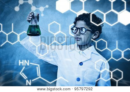 Science graphic against bboy holding conical flask in classroom