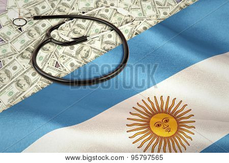 stethoscope against digitally generated argentinian national flag