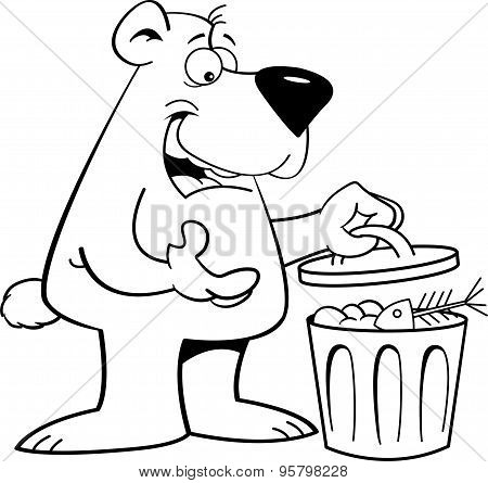 Cartoon bear with a garbage can.