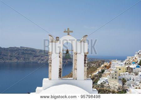 Bell tower  in Oia village, Santorini island