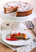 image of sponge-cake  - Plum sponge cake with icing sugar on top - JPG