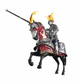 stock photo of jousting  - Knight in armour on horseback with jousting lance - JPG