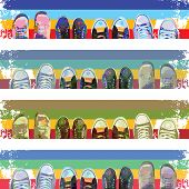 picture of insole  - Abstract cartoon sneakers on colored stripes - JPG