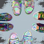 stock photo of insole  - Abstract cartoon sneakers on grunge background - JPG