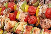 foto of braai  - Assorted Roasted Meat with Vegetable On The Hot Barbecue Charcoal Grill - JPG