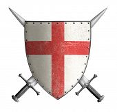 stock photo of crossed swords  - medieval crusader knight shield with cross red and two swords isolated - JPG