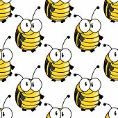pic of googly-eyes  - Funny cartoon bright yellow beetles or bugs seamless pattern with black strips on the back and small antennae - JPG