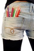Jeans Pocket With Colored Pencils
