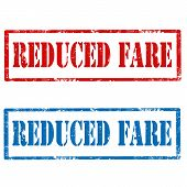 pic of reduce  - Set of grunge rubber stamps with text Reduced Fare - JPG