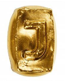stock photo of letter j  - Handmade ceramic letter J painted in gold isolated on white - JPG