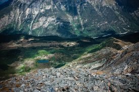 picture of mountain-high  - Scenery of high mountain with lake and high peak on a clear day - JPG