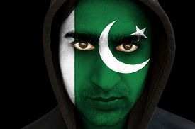 pic of pakistani flag  - Portrait of a man with Pakistani flag face paint - JPG