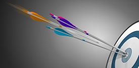 picture of arrow  - Three arrow hitting a target bullseye plus an orange one in motion about to hit the center - JPG