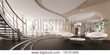Interior Of Modern House Panorama 3D Render