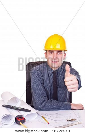 Architect Man Giving A Thumb Up
