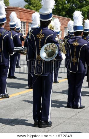 School Band At Parade