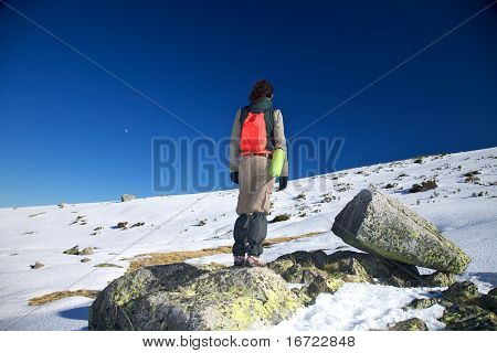 Active Woman On Rock