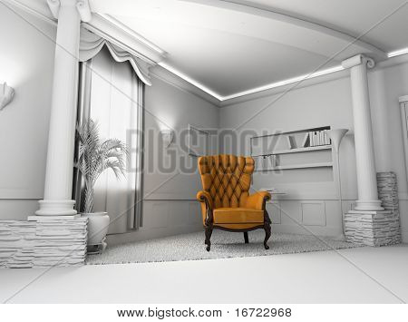 Brown Leather  armchair over the blank interior