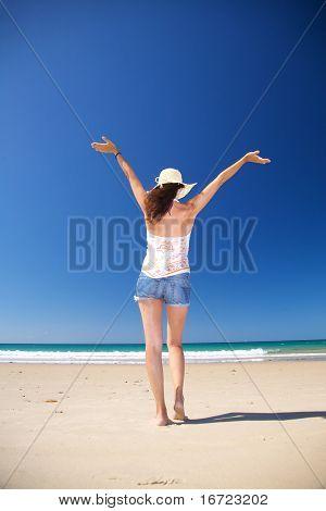 Back Happy Woman At Zahara Beach