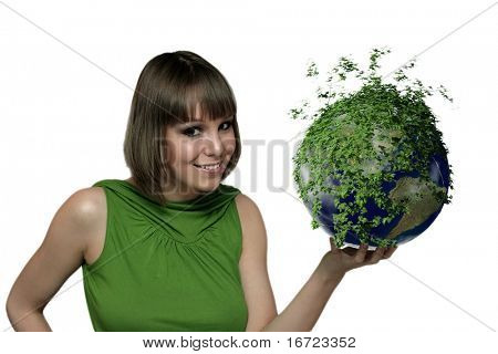 smiling girl portrait with green earth planet at the hand