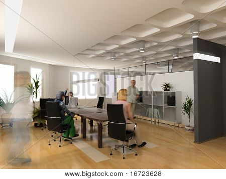 the modern office interior design (3d render)