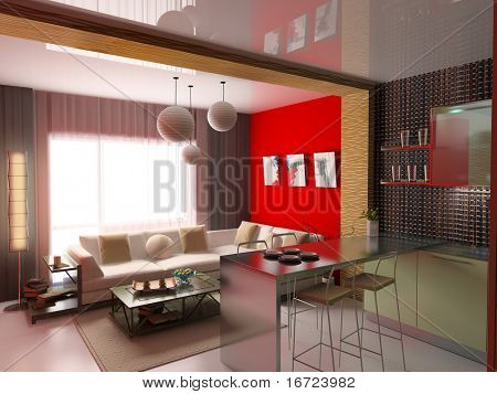 the modern interior (3D rendering)