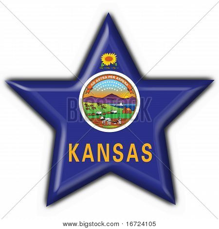 Kansas (usa State) Button Flag Star Shape