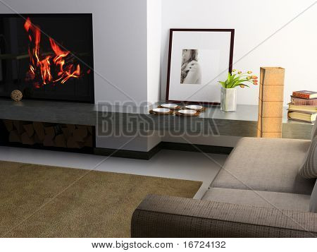 interior privado moderno (Render 3D)