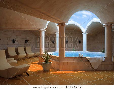 modern hotel spa interior (3D rendering)
