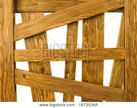 Wooden cage on a white background (over white).