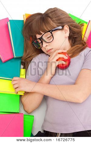 Girl Sleeping On Pile Of Books