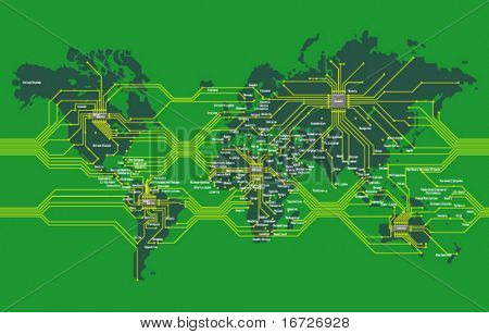 World map as mainboard.