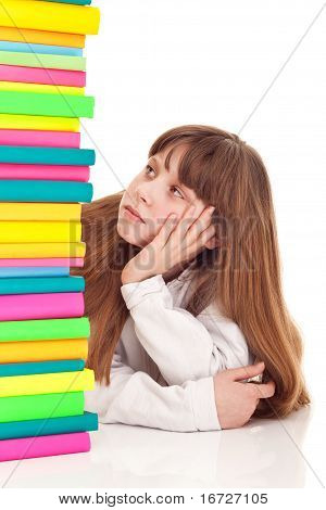 Teenager Girl With Books, Bored