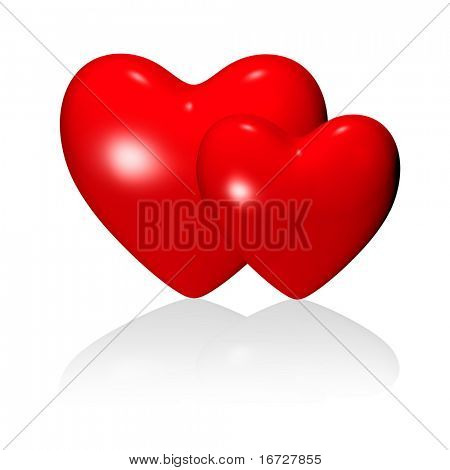 Red couple hearts on white background (isolated).