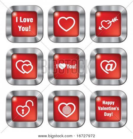 Happy Valentines day button. (See more button theme in my portfolio).