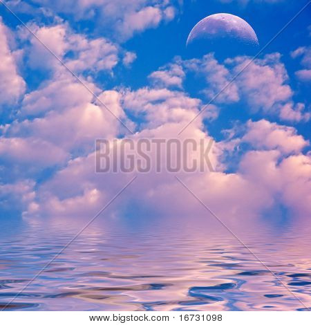 Pink clouds and moon over sea.