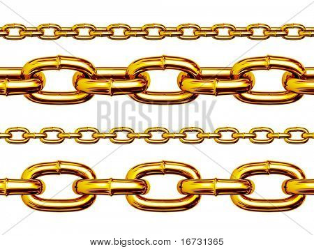 Seamless golden chains isolated over white background for continuous replicate. (Realistic 3D render).