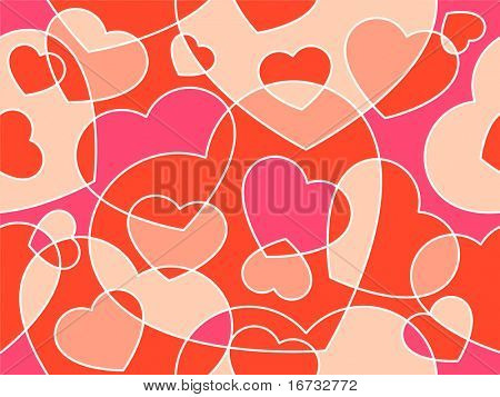 Hearts  seamless background - vector pattern for continuous replicate.