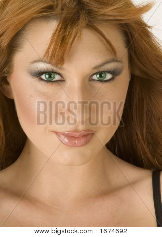Beautiful Redheaded Woman Closeup Portrait 12
