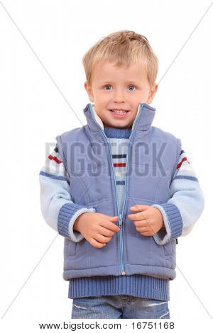 3-4 years old boy in waistcoat - autumn portrait