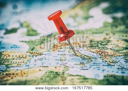 travel pinning pin trip map destination push cartography new photo find choose mark plan sign symbol final blurred foreign conceptual best pinpoint horizontal concept - stock image